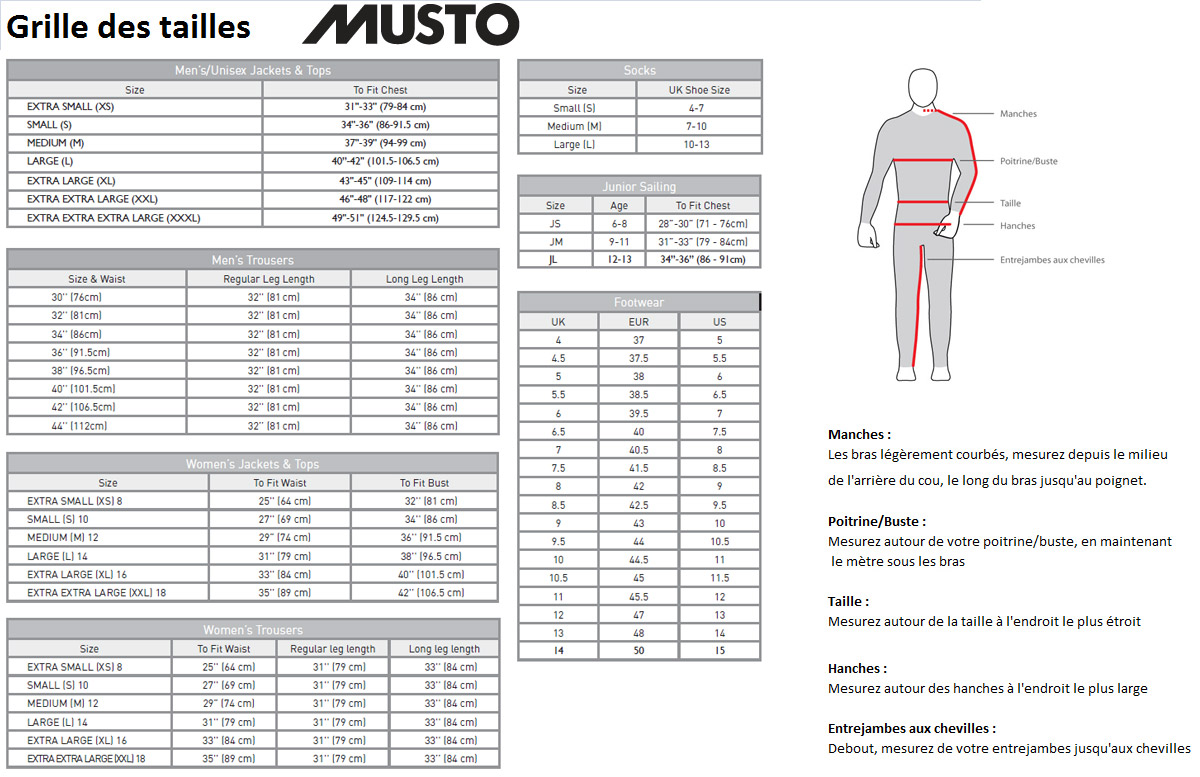 Grille des tailles Musto